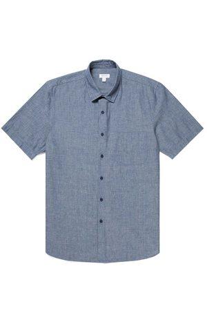 Sunspel Short Sleeve Shirt - Navy Denim