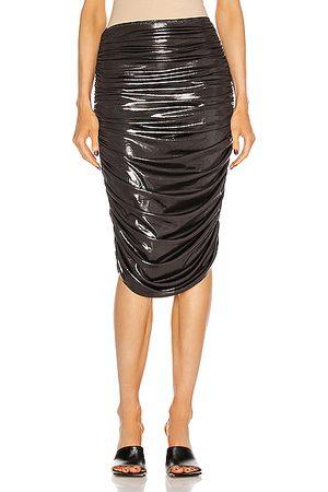 Norma Kamali Women Midi Skirts - Shirred To Knee Skirt in Pewter,Metallic