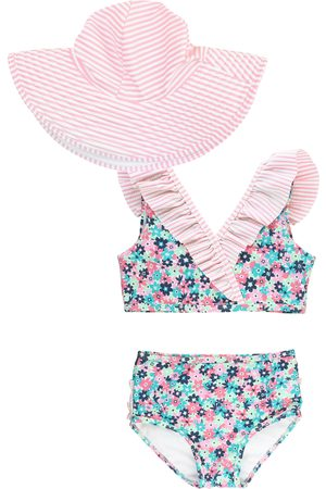 RuffleButts Infant Girl's Water Lilies Two-Piece Swimsuit & Hat Set