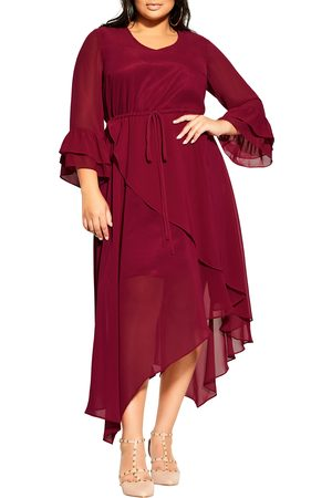 City Chic Plus Size Women's Hidden Treasure Long Sleeve Asymmetrical Dress