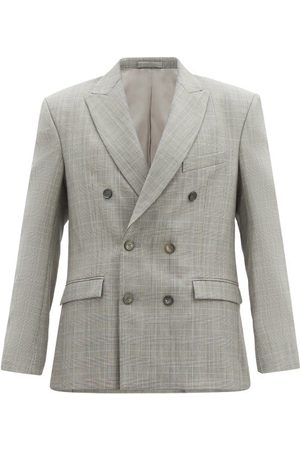 Wardrobe. nyc Release 01 Checked Wool Double-breasted Blazer - Womens - Grey