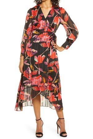 Adelyn Rae Women's Naomi Smocked Long Sleeve Wrap Dress