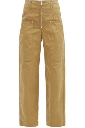 Isabel Marant Paggy High-rise Canvas Wide-leg Trousers - Womens - Camel