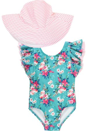 RuffleButts Infant Girl's Fancy Me One-Piece Swimsuit & Hat Set