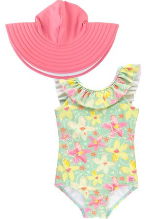 RuffleButts Infant Girl's Waltzing On Water One-Piece Swimsuit & Hat Set