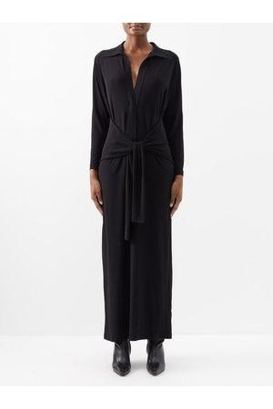 Norma Kamali Tie-front Stretch-jersey Maxi Dress - Womens