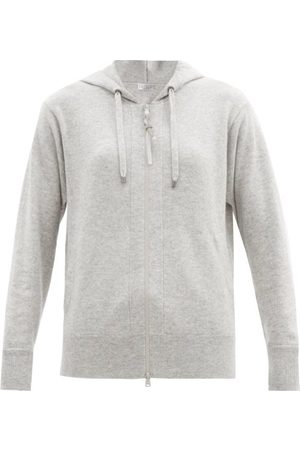 Brunello Cucinelli Hooded Zip-up Cashmere Sweatshirt - Womens - Light Grey