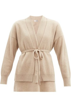 Brunello Cucinelli Women Cardigans - Double-layer Belted Ribbed-cashmere Cardigan - Womens - Camel