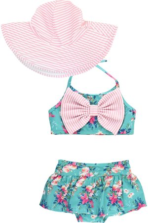 RuffleButts Infant Girl's Fancy Me Two-Piece Swimsuit & Hat Set