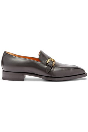 Gucci Men Loafers - Zola Buckle-strap Leather Loafers - Mens