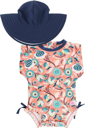 RuffleButts Infant Girl's Paisley Paradise One-Piece Rashguard Swimsuit & Hat Set