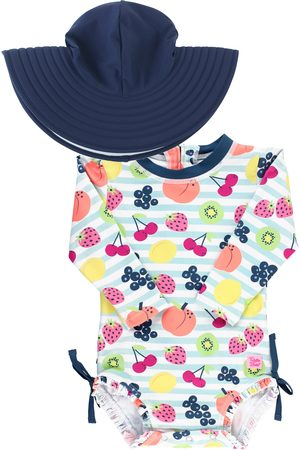 RuffleButts Infant Girl's Fruit Fiesta One-Piece Rashguard Swimsuit & Hat Set