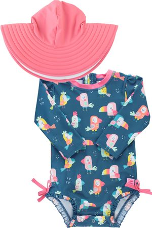 RuffleButts Infant Girl's You'Re The Tweetest One-Piece Rashguard Swimsuit & Hat Set