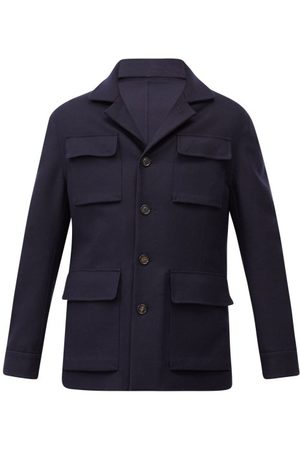 Brunello Cucinelli Men Coats - Single-breasted Wool-blend Coat - Mens - Navy