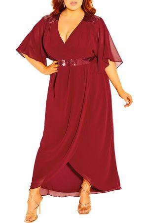 City Chic Plus Size Women's Sequin Faux Wrap Dress