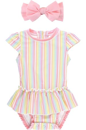 RuffleButts Infant Girl's Rainbow Stripe One-Piece Swimsuit & Headband Set
