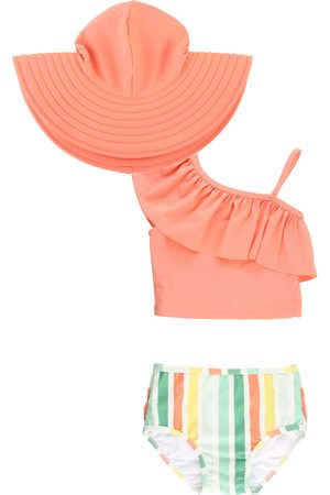 RuffleButts Infant Girl's Saltwater Stripe Two-Piece Swimsuit & Hat Set