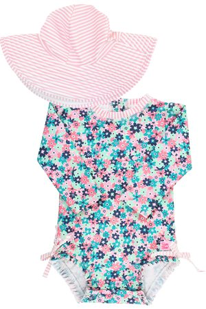 RuffleButts Infant Girl's Water Lilies One-Piece Rashguard Swimsuit & Hat Set