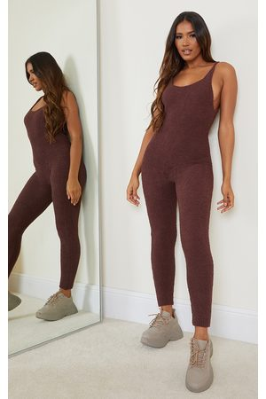PRETTYLITTLETHING Chocolate Premium Fluffy Knitted Jumpsuit