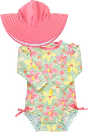 RuffleButts Infant Girl's Waltzing On Water One-Piece Rashguard Swimsuit & Hat Set