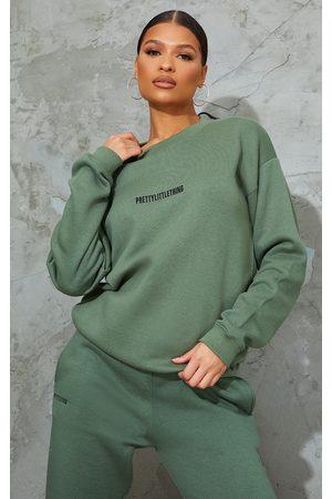 PRETTYLITTLETHING Sage Embroidered Lounge Sweatshirt