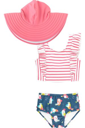 RuffleButts Infant Girl's You'Re The Tweetest Two-Piece Swimsuit & Hat Set