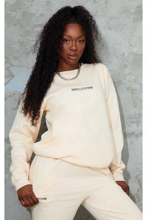 PRETTYLITTLETHING Ecru Embroidered Lounge Sweatshirt