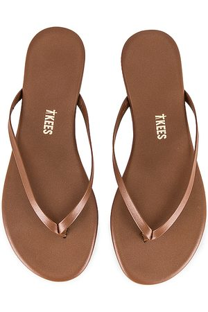 Tkees Foundations Shimmer Flip Flop in Brown.