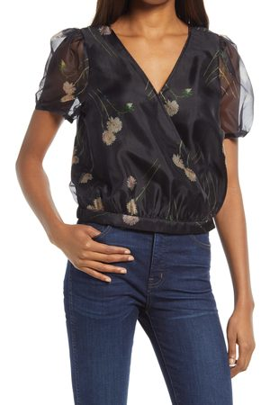 Madewell Women's Aster Portrait Silk Organza Puff Sleeve Wrap Top