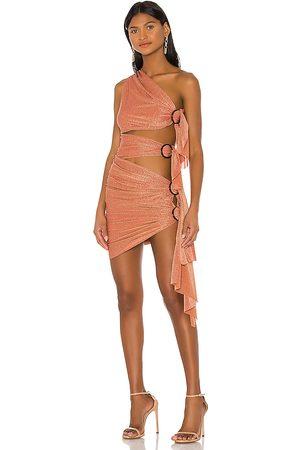Bronx and Banco X REVOLVE Gaia Mini Dress in Burnt Orange.
