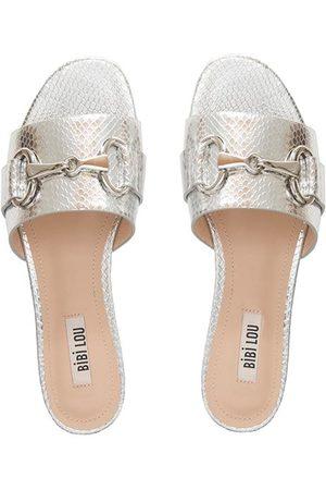 Bibi Lou Leather Metallic Slides Sandals