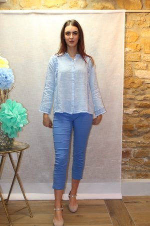 120% Lino Lace Linen Shirt in Pale