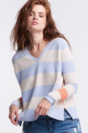 Lisa Todd Stripe Hype Lite Sweater - Bluefoam