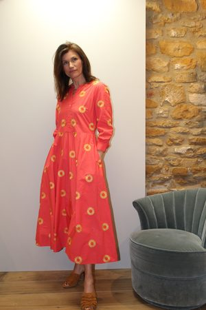 Nimo with Love Azurite Dress in Sliced Pineapple Embroidery