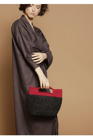 MARAINA LONDON KIARA small raffia tote bag- and fushia
