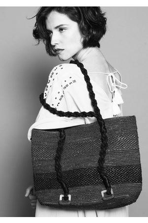 MARAINA LONDON MIMOSA beach raffia tote bag with black stripe