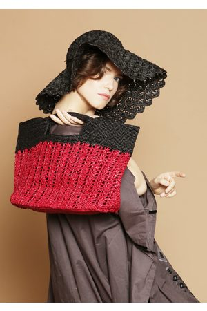 MARAINA LONDON INES ODETTE raffia tote bag- and black