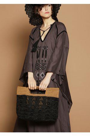 MARAINA LONDON LUCIA raffia tote bag- /Black
