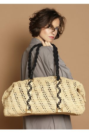 MARAINA LONDON RITA raffia weekend Holdall bag- Natural or Brown