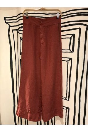 Tandem Crochet and Linen Wide Leg Trousers in Clay