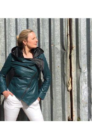 From My Mother's Garden HOODED LEATHER JACKET TEAL