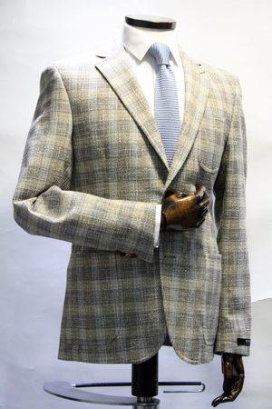 Digel Ken Oatmeal Check Textured Blazer