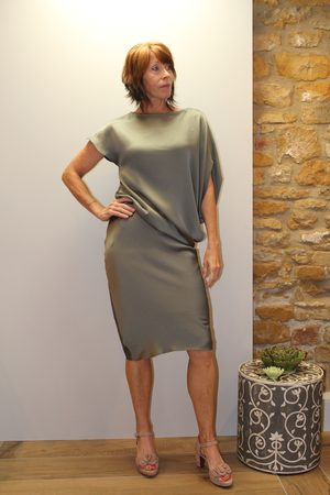 Roisin Linnane Louise Dress in Khaki Shimmer.