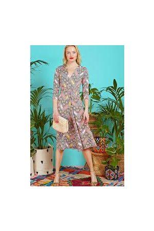 Onjenu Women Printed Dresses - Amy Dress in Thalia Grey Print-New Season