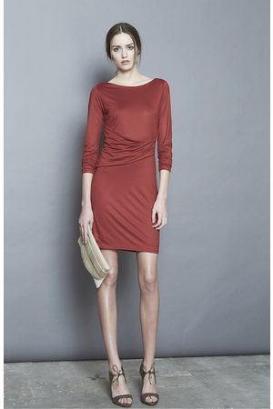 Intropia Jersey Ruched Front Dress - Terracotta
