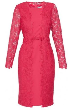 Gina Bacconi Summer Lace And Crepe Dress Fuchsia Rose SSS1001