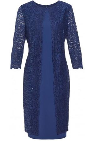Gina Bacconi Farlyn Crepe and Lace Dress Navy STT2681