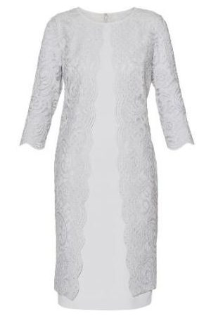 Gina Bacconi Clarabelle Crepe and Lace Dress Mist SQQ9058