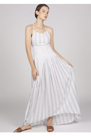 MARAINA LONDON MARGUERITE striped pleated dip-hem maxi cocktail dress