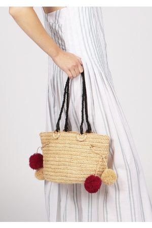 MARAINA LONDON JUNE raffia beach tote bag with pompoms in natural